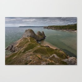 Three Cliffs Bay and the Great Tor Canvas Print