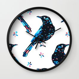 Patched Black Bird Wall Clock