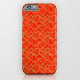 Stylish design with interlaced circles and bronze rectangles of stripes. iPhone Case