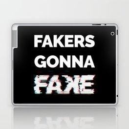 Fakers Gonna Fake Glitch (Shake It Off lyrics) [black] Laptop & iPad Skin