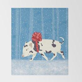 Cute Little Pig Holiday Design Throw Blanket