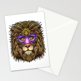 Mardi Gras | Pride Lion With Cute Mask Stationery Cards
