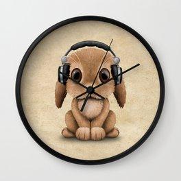 Cute Baby Bunny Dj Wearing Headphones Wall Clock