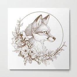 Fox & Moths Metal Print
