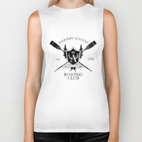 rowing Biker Tanks featuring Aglionby Rowing Club (black) by cloven