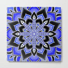 Blue Black & White Flower Mandala Metal Print