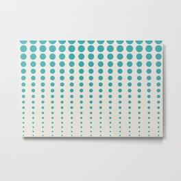 Aqua Teal Turquoise Solid Color Reduced Polka Dots Vertical Line Pattern on Alabaster Off White - Aquarium SW 6767 Metal Print