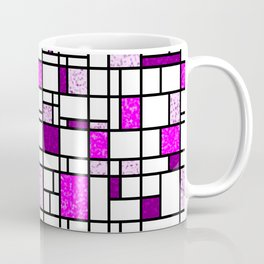 Modern Art Pink and Purple Speckled Grid Pattern Coffee Mug