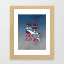 Wild girls go scuba diving Framed Art Print