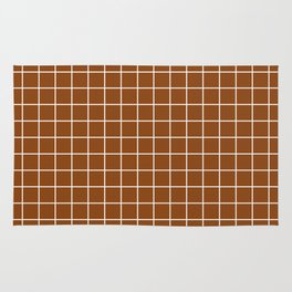 Saddle brown - brown color - White Lines Grid Pattern Rug
