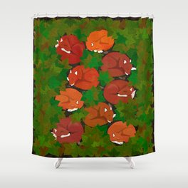 Sleepy foxes and Grapevine leaves Shower Curtain