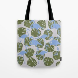 Flamingos and Monstera Pattern ZZZ Tote Bag