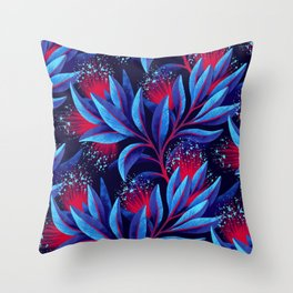 Pohutukawa - Red / Blue Throw Pillow