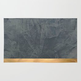 Slate Gray Stucco w Shiny Copper Metallic Trim - Faux Finishes - Rustic Glam Rug