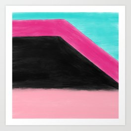 Abstract artsy teal pink black geometric watercolor Art Print