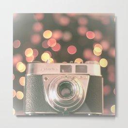Film camera and magic bokeh (Vintage and Retro Still Life Photography)  Metal Print