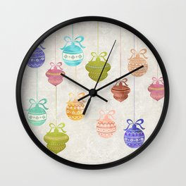 Colorful Watercolor Christmas Ornaments Wall Clock