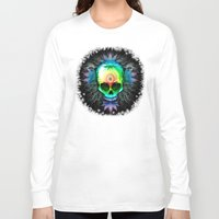 marijuana Long Sleeve T-shirts featuring Marijuana Psychedelic Skull by BluedarkArt