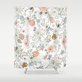 Abstract modern coral white pastel rustic floral Shower Curtain