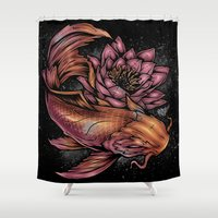 koi fish Shower Curtains featuring Koi Fish by Absorb81