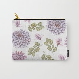 Lavender Rose Garden Floral Pattern Carry-All Pouch