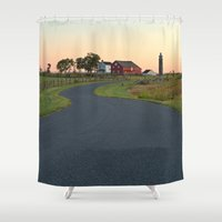 battlefield Shower Curtains featuring Winding Gettysburg Dawn Road by Nicolas Raymond