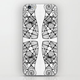 Black and White Zentangled Cross Tile Doodle Design iPhone Skin