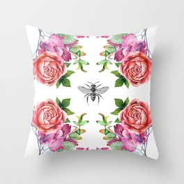 Honey Bee with Floral Watecolor Throw Pillow