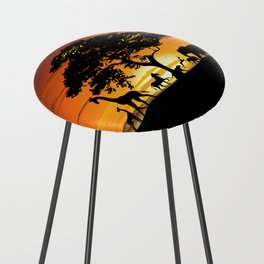 Wild Animals on African Savanna Sunset Counter Stool
