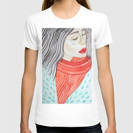 Beautiful lady with closed eyes in a red scarf wearing eyeglasses. Watercolor illustration. T-shirt