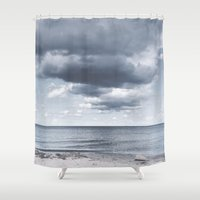 religious Shower Curtains featuring Looking for the clouds by UtArt