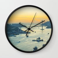 hong kong Wall Clocks featuring Hong Kong by Rothko