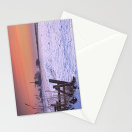 Typical Dutch landscape with windmill in winter at sunrise Stationery Cards