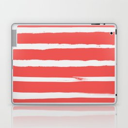 Irregular Hand Painted Stripes Coral Red Laptop & iPad Skin