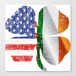 Lucky Irish clover american flag Canvas Print