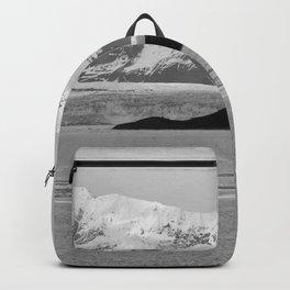 Alaska Glacier Snow Mountains Black And White Backpack