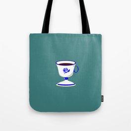 Cup of Coffee in Blue Flow Vintage China Tote Bag