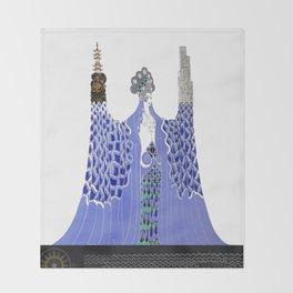 "Art Deco Design ""Pacific Ocean"" by Erté Throw Blanket"
