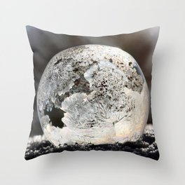 Frost Ice Crystal Bubble in Early Morning Sunshine color photography / photographs by Daniela Rapava Throw Pillow
