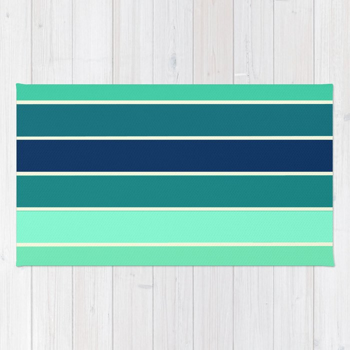 Stripes Aqua & Teal Rug By Vintageby2sweet