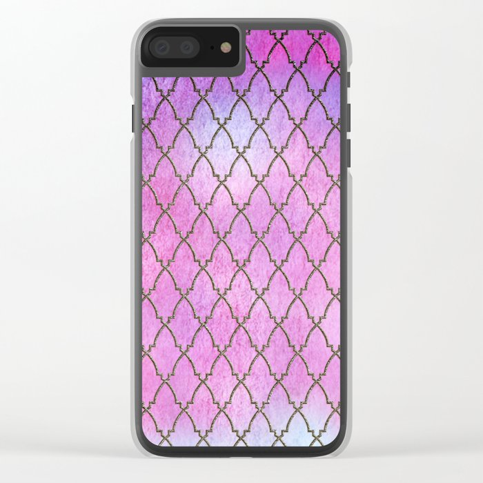 Purple and blue Quatrefoil with Gold Frame- Elegant Morrocan Watercolor Pattern Clear iPhone Case