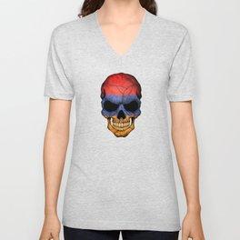 Dark Skull with Flag of Armenia Unisex V-Neck