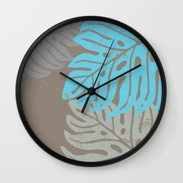 Hawaiian leaves pattern N0 2, Art Print collection, illustration original pop art graphic print Wall Clock