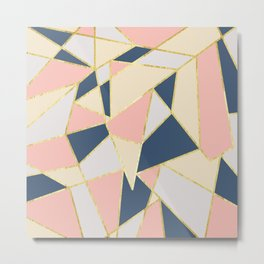 Girly Geometric Triangles with Faux Gold Metal Print