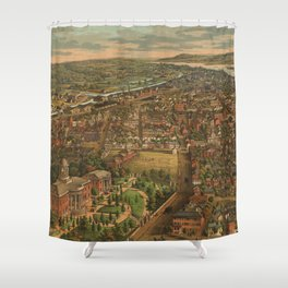 Vintage Pictorial Map of Harrisburg PA (1855) Shower Curtain