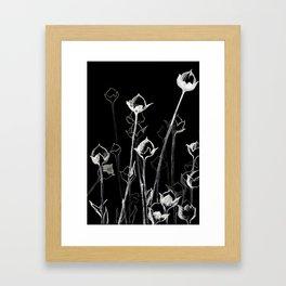 Graphic art. White ink and black cardboard. Flowers Framed Art Print