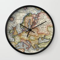 maps Wall Clocks featuring Vintage Maps by Wisteria Design Studio
