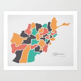 Afghanistan Map with states and modern round shapes Art Print