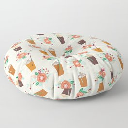 Coffee floral bouquet coffee lovers java bean cute pattern print for kitchen Floor Pillow
