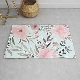 Modern Print Floral, Pretty Pink and Light Blue Rug